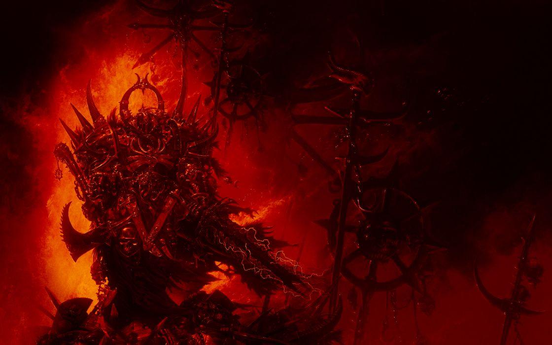 Warhammer 40k Space Marines Red dark warriors skull weapons sci-fi wallpaper