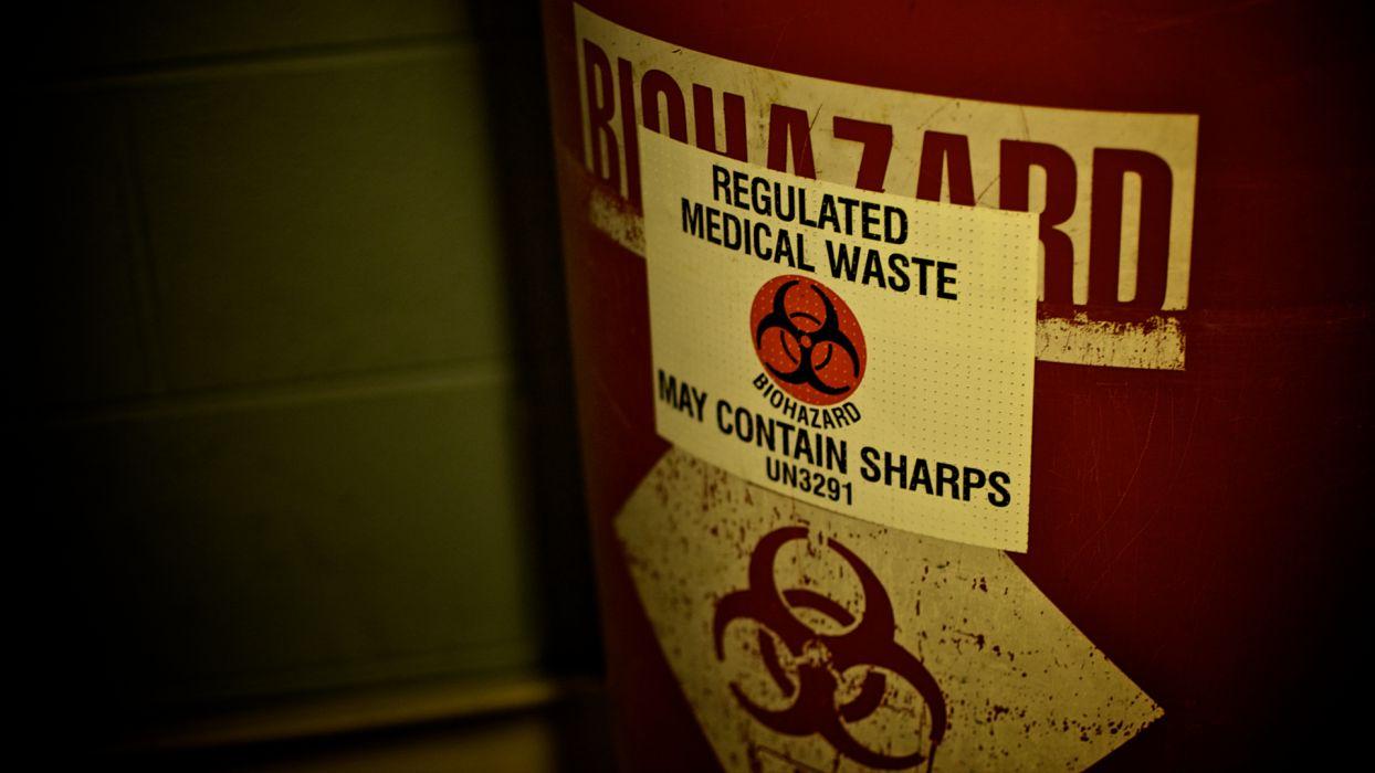 Biohazard waste warning sign needles text dark horror blood wallpaper