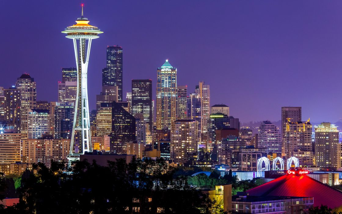 buildings architecture skyscraper space needle seattle washington night lights tower monument sky wallpaper