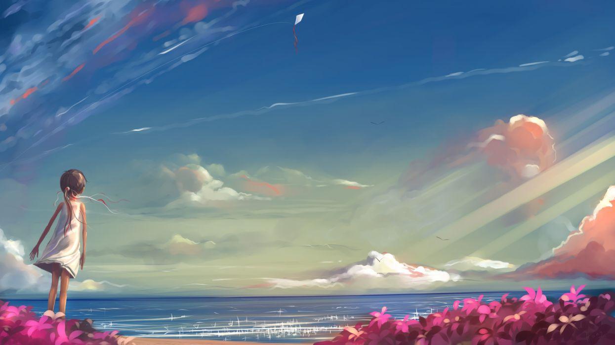 Anime Drawing Clouds Kite Ocean Beach Child original sky flowers girl wallpaper