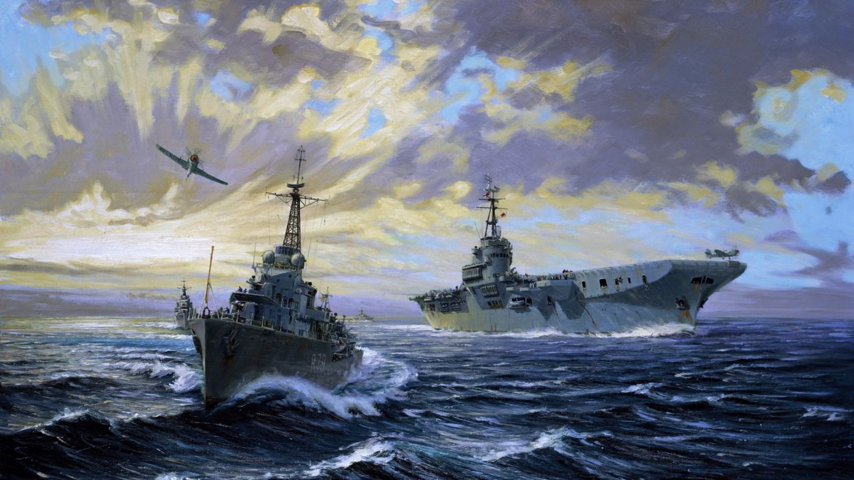 art painting military navy weapons vehicles ships boats ocean sea sky clouds aircraft airplane battle war fighter wallpaper