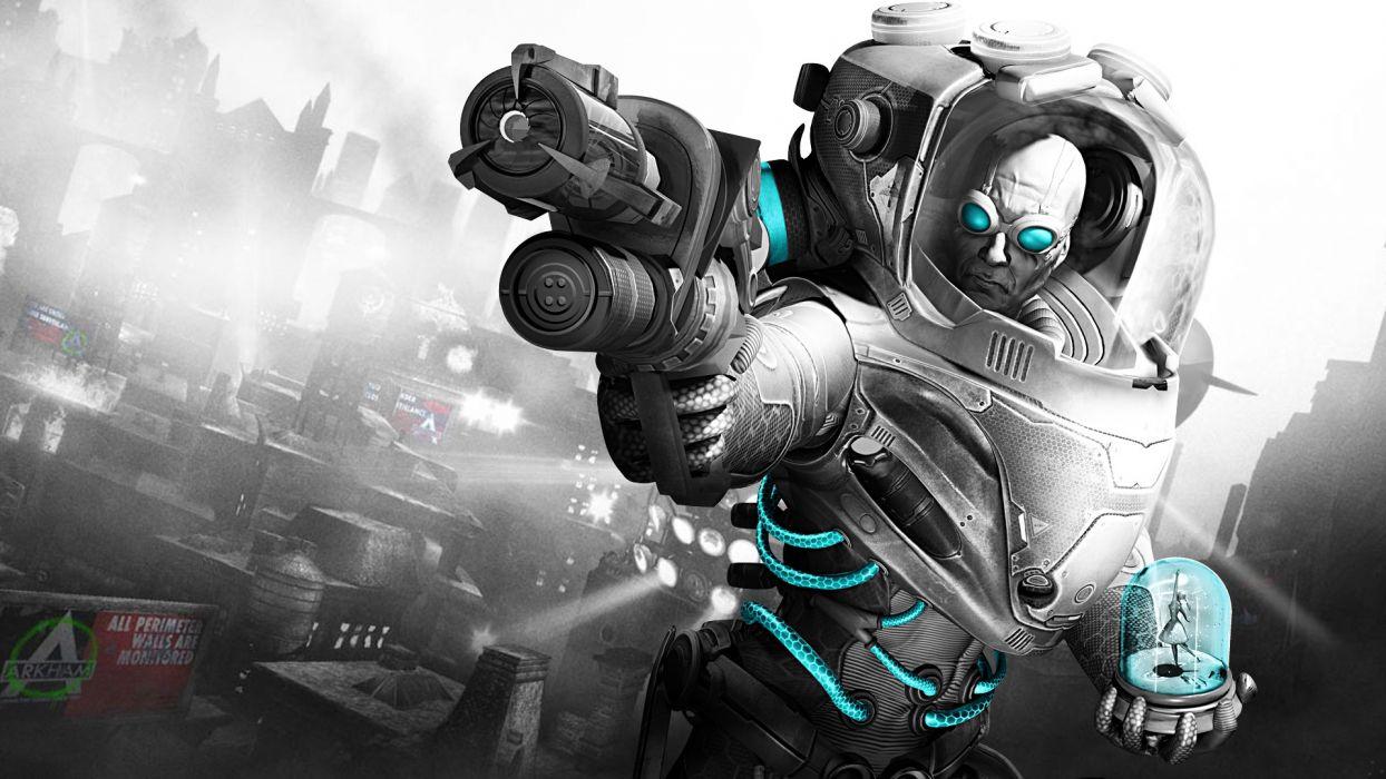 Batman Arkham City mr freeze warriors sci-fi comics cities weapons guns cg digital art wallpaper