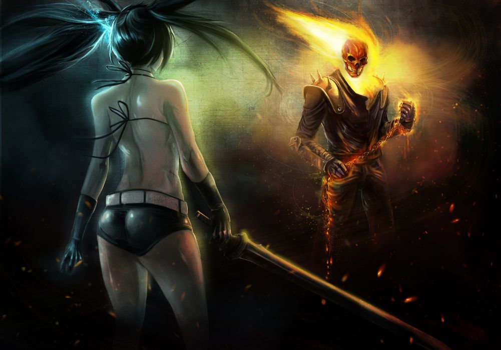 Ghost Rider Heroes comics Fantasy Skulls Girls sexy babes swords weapons dark skull fire flames battle women female art wallpaper