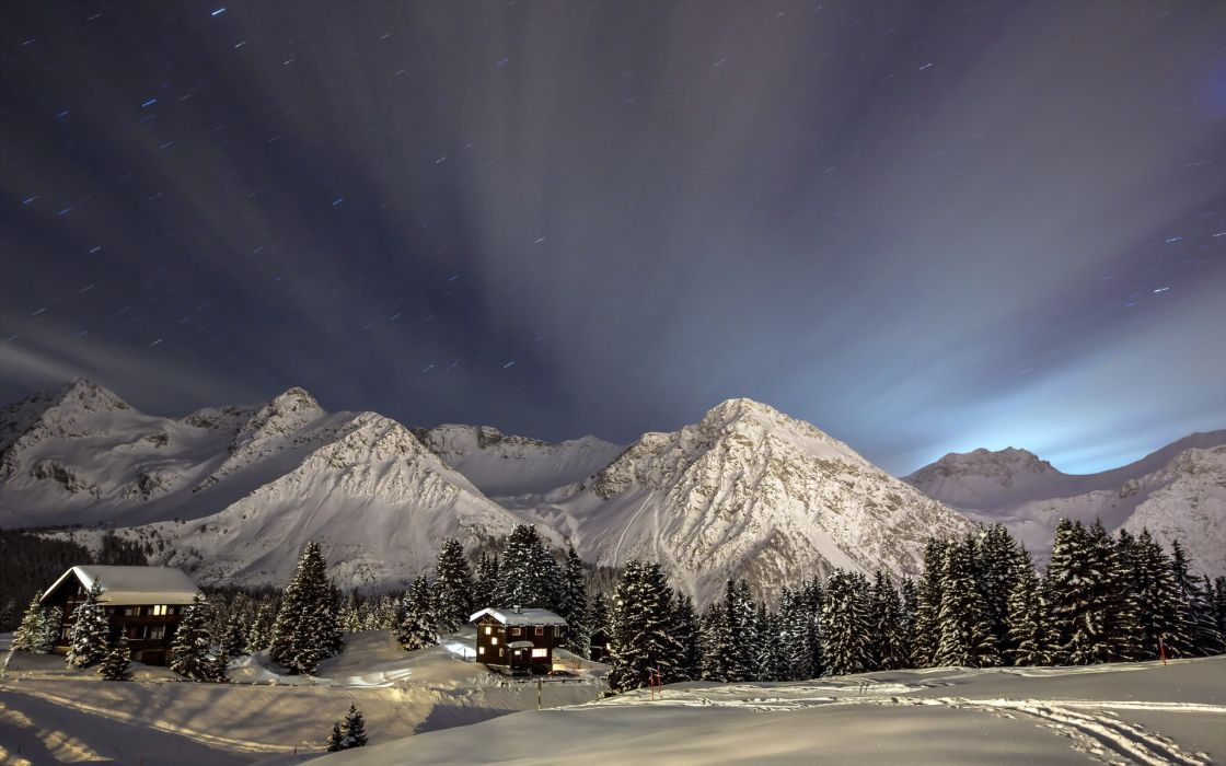 houses buildings architecture cabins nature landscapes winter snow trees mountains sky stars night lights moonlight wallpaper