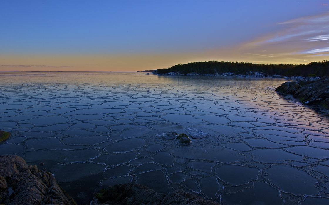 ice nature landscapes lakes reflection shore winter snow sky clouds sunset sunrise wallpaper