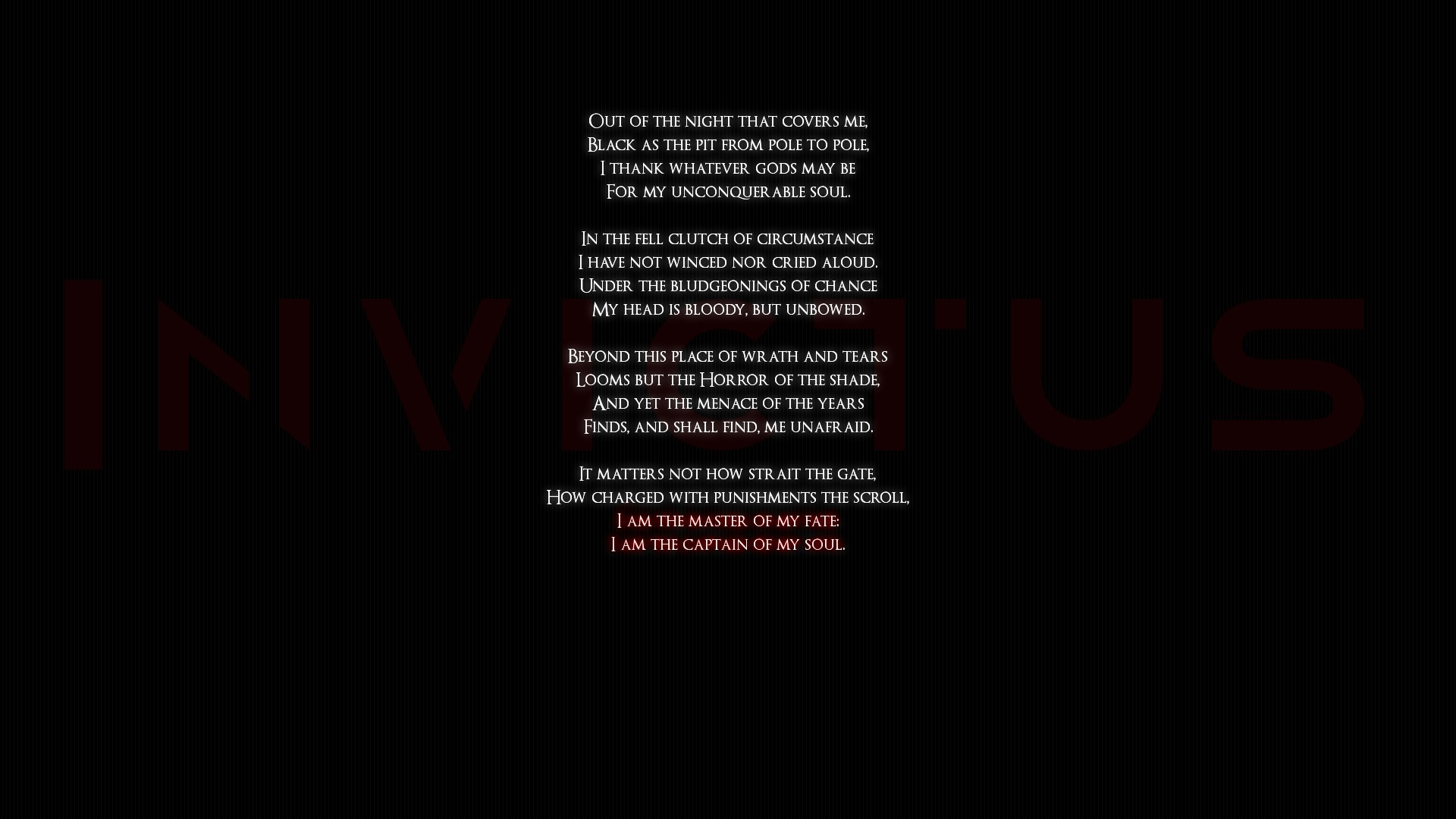 Invictus Black quotes poems statement text words wallpaper ...
