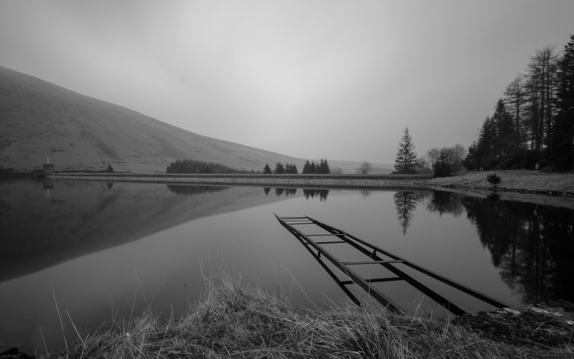 dam black white nature landscapes lakes water reflection sky trees grass shore beaches wallpaper