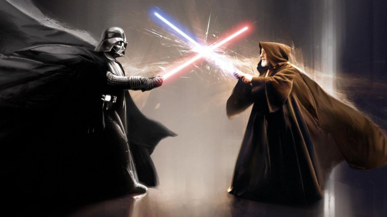 Darth Vader Obi Wan Kenobi movies star wars sci-fi weapons lightsaber battle video games wallpaper