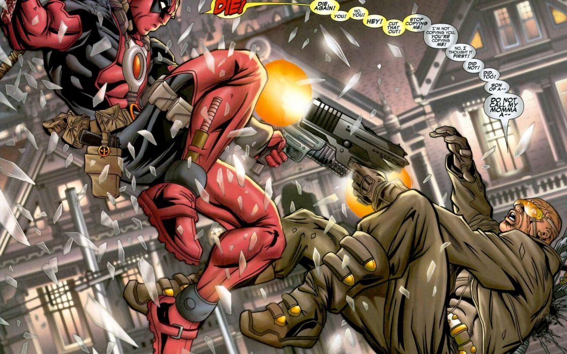 deadpool marvel comics hero weapons guns wallpaper