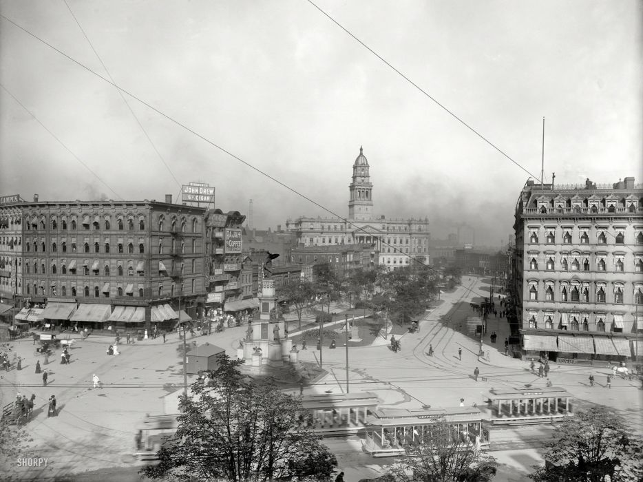Detroit Buildings BW Trolley cities architecture roads train tracks street cars people steeple retro classic black white bw sky wallpaper