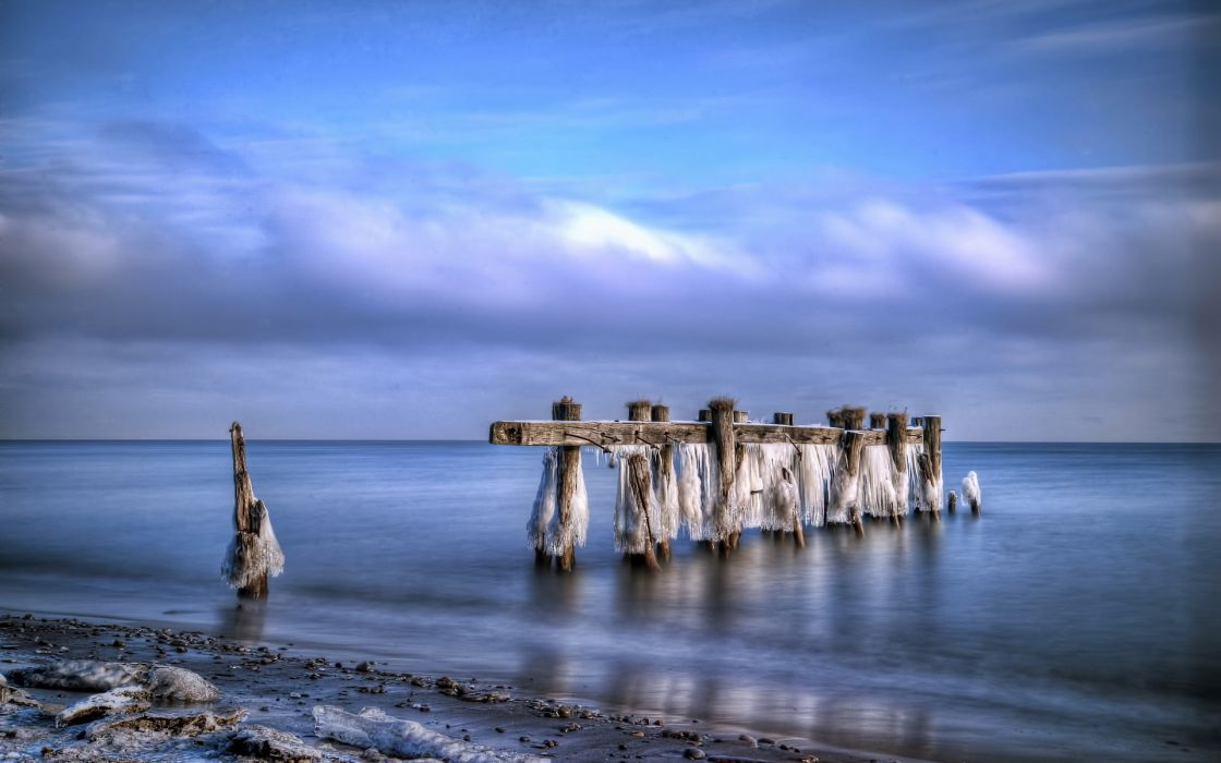 dock pier decay ruins nature ocean sea beaches winter ice hdr sky clouds wallpaper
