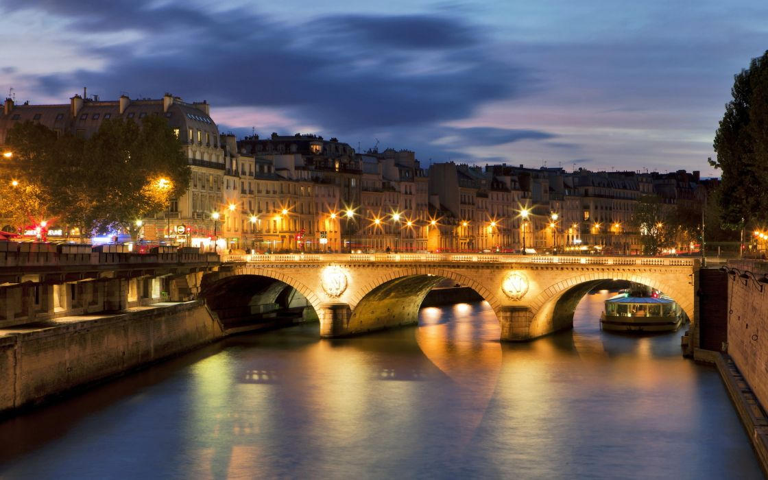 France Bridge River Seine Paris world places cities night lights sky clouds sunrise sunset boats roads wallpaper