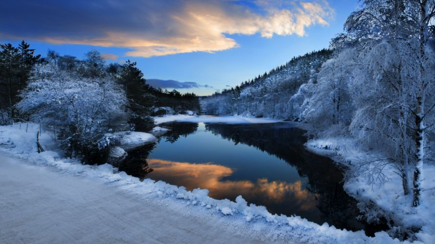 nature landscapes winter snow rivers trees forest roads reflection water sunset sunrise wallpaper