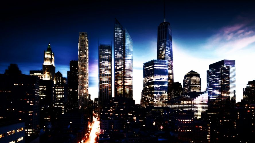New York Buildings Skyscrapers Manhattan world cities skyline cityscape night lights sunset sunrise sky roads wallpaper