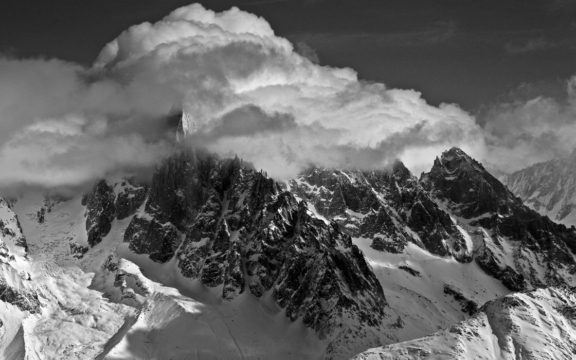 peaks nature landscapes mountains snow winter sky clouds bw black white monochrome wallpaper