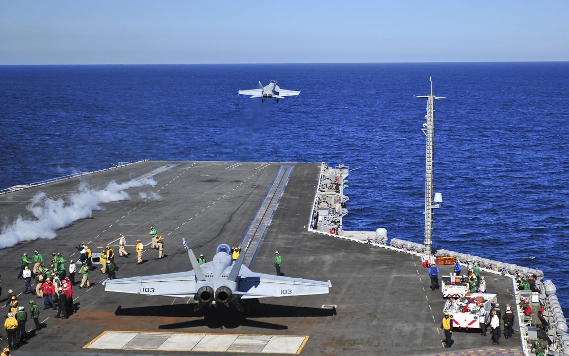 people Aircraft Carrier military navy boats ships weapons ocean sea sky fighter jets airplane flight fly steam deck wallpaper