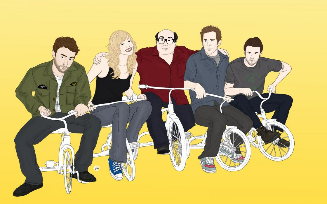 It's Always Sunny in Philadelphia Drawing Tricycle vector tv series television humor funny comedy women females men males actors actress wallpaper