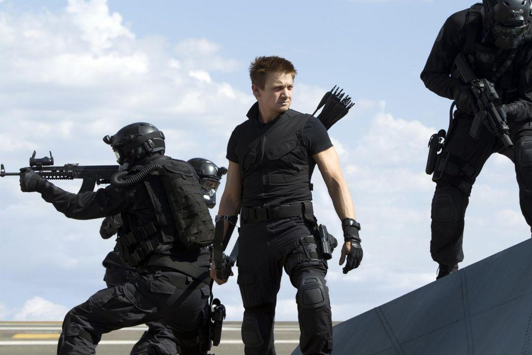 Jeremy Renner The Avengers Hawkeye superhero men males actors swat soldiers warriors weapons assault rifles guns wallpaper