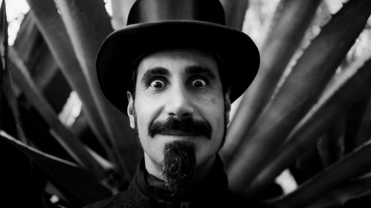Serj Tankian System of a Down BW Face Hat singer heavy metal hard rock eyes pov wallpaper