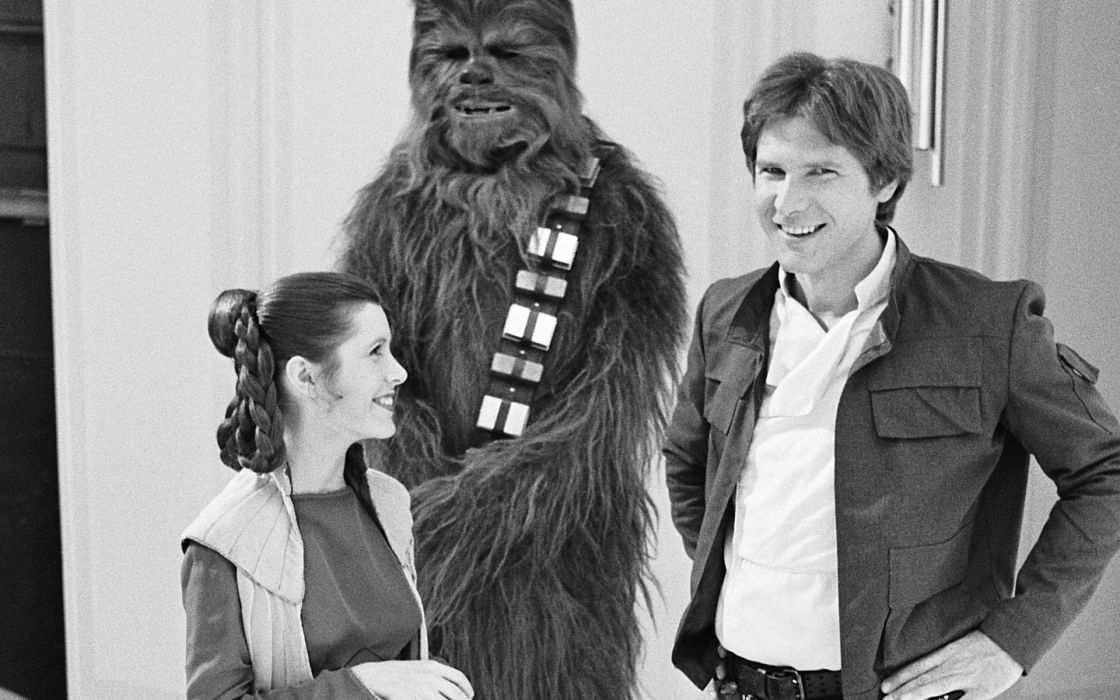 Star Wars Han Solo Harrison Ford Chewbacca BW Carrie Fisher Princess Leia sci-fi movies black white classic wookie people men males wmone females babes actor actress wallpaper