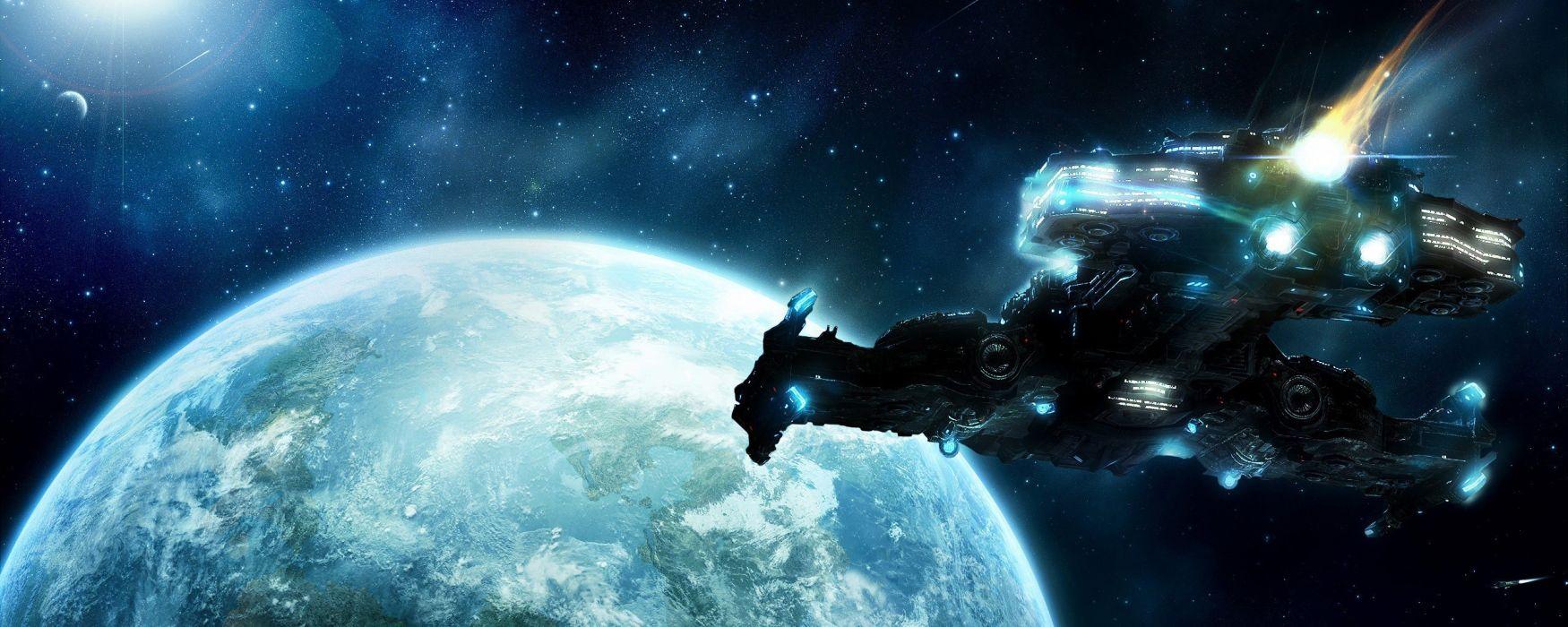 StarCraft Planet Spaceship Stars video games sci-fi space spacecraft flight wallpaper