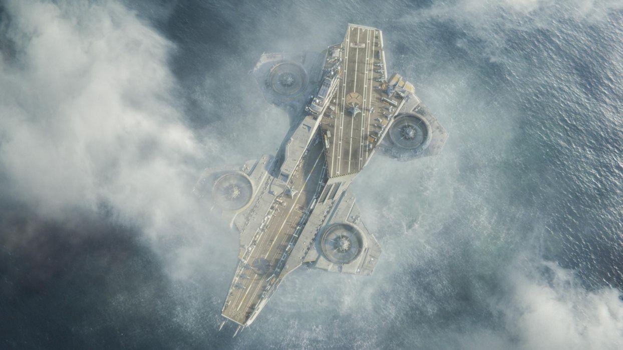 The Avengers movies comics vehicles ships aircraft carrier ocean sea wallpaper