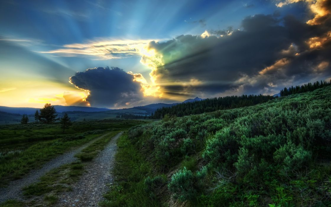 plants nature landscapes roads trees sky sunset sunrise clouds hdr sunlight beams rays wallpaper