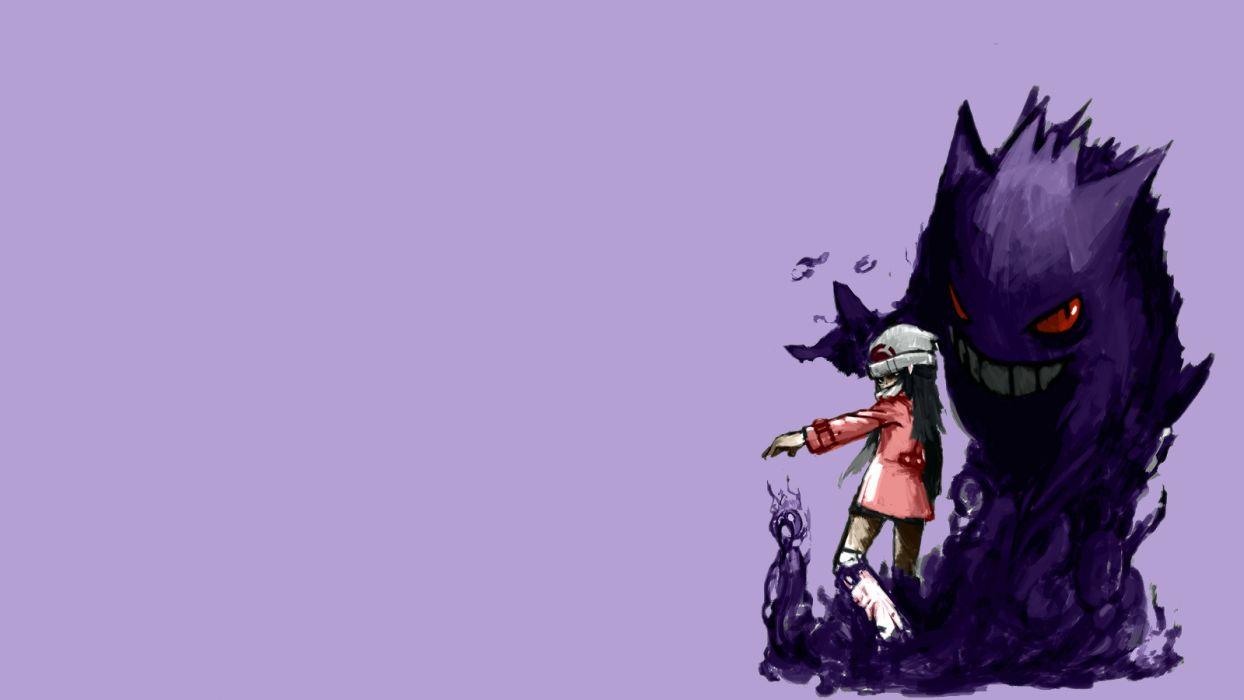Pokemon Purple anime monsters creatures girl dark wallpaper