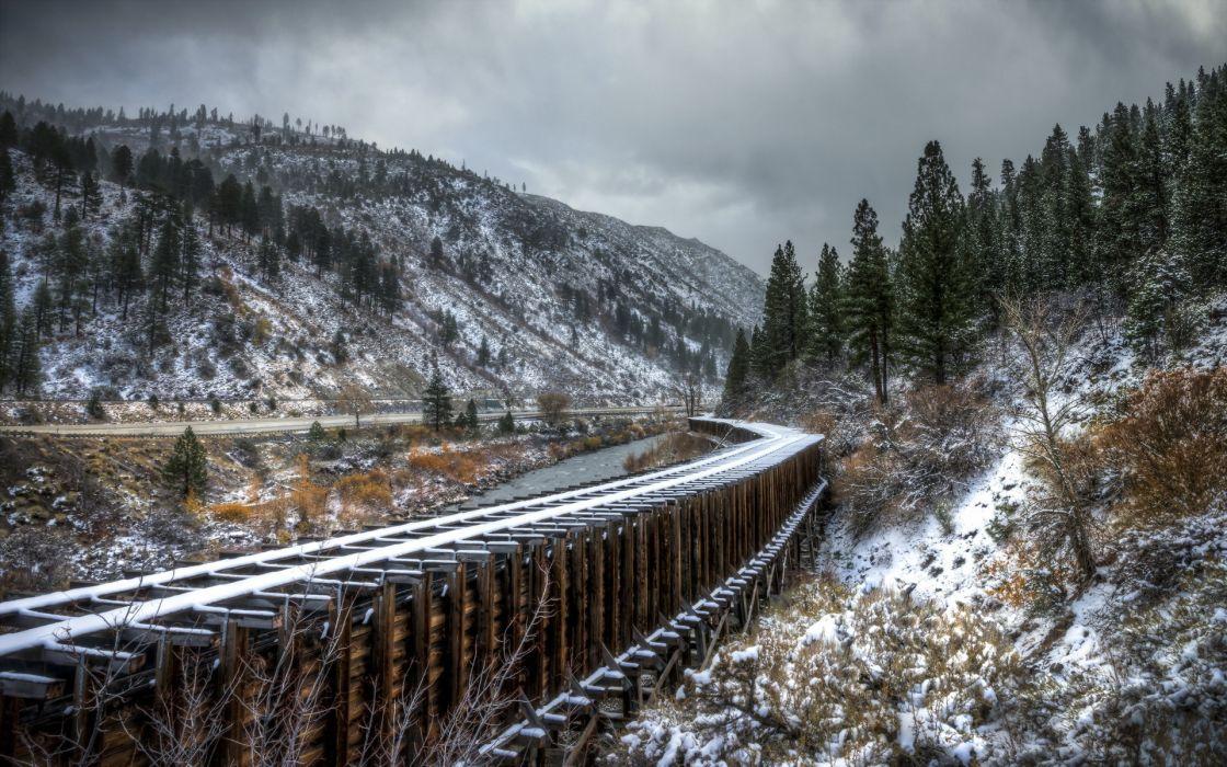 railroad railway train tracks bridges architecture nature landscapes trees winter snow sky clouds roads wallpaper