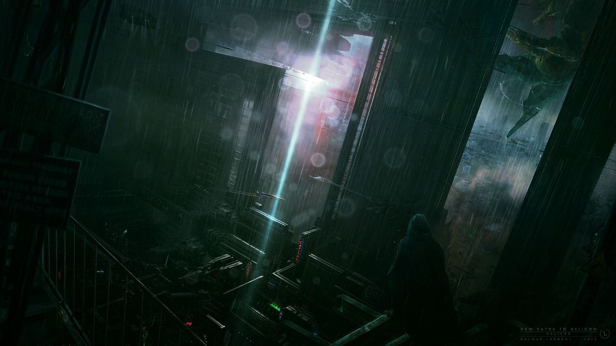 rain storm sci-fi futuristic cities dark mech people figure vehicles aircraft cg digital art wallpaper