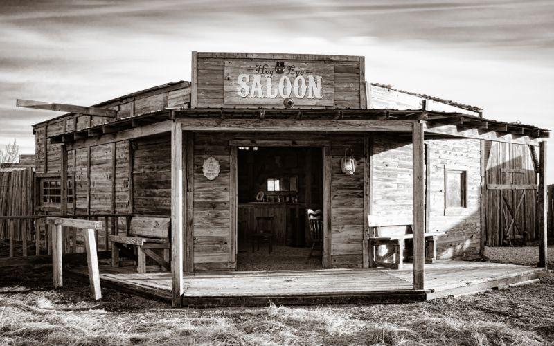 Saloon Bar Wild West Sepia american retro world history drinks architecture buildings black white bw wallpaper