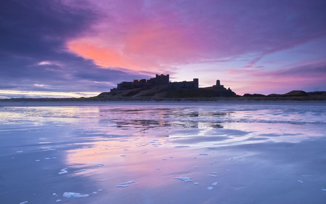 UK England world architecture building castle nature beaches sea ocean reflection sky clouds sunset sunrise wallpaper