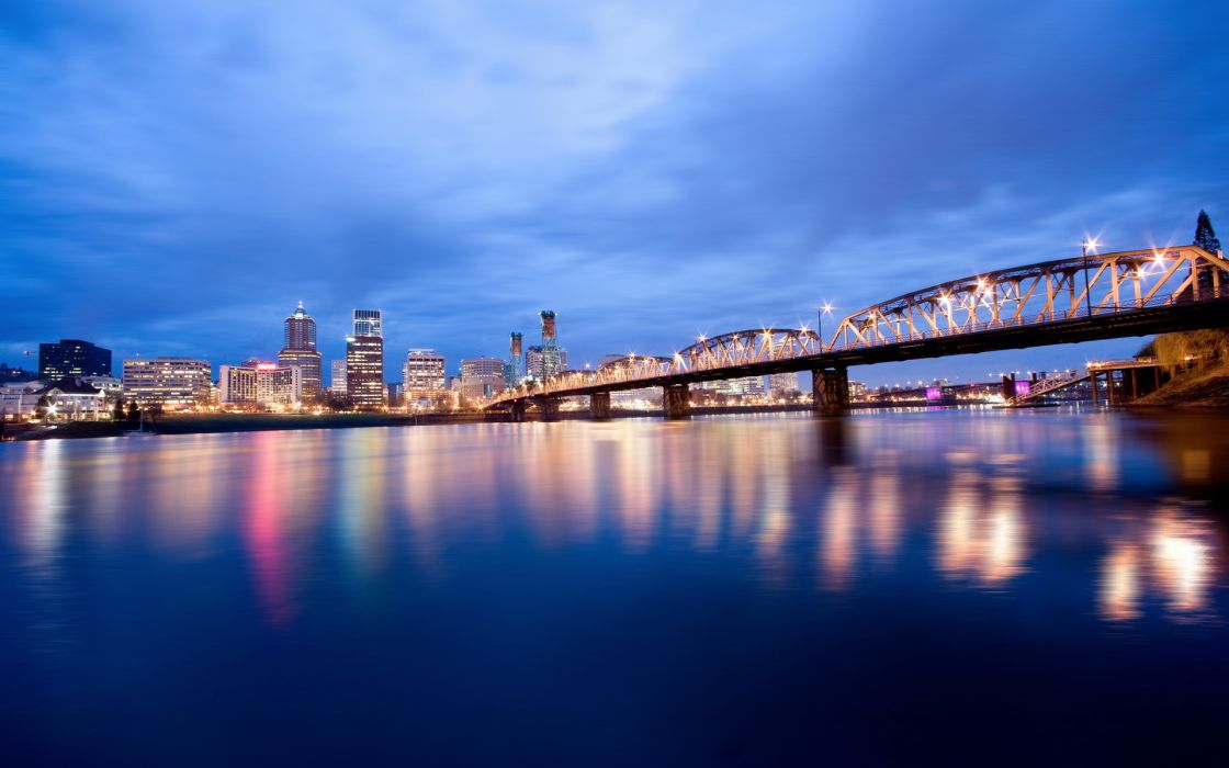 United States Oregon Portland world places rivers night lights reflection sky clouds cities buildings skyscrapers bridges wallpaper