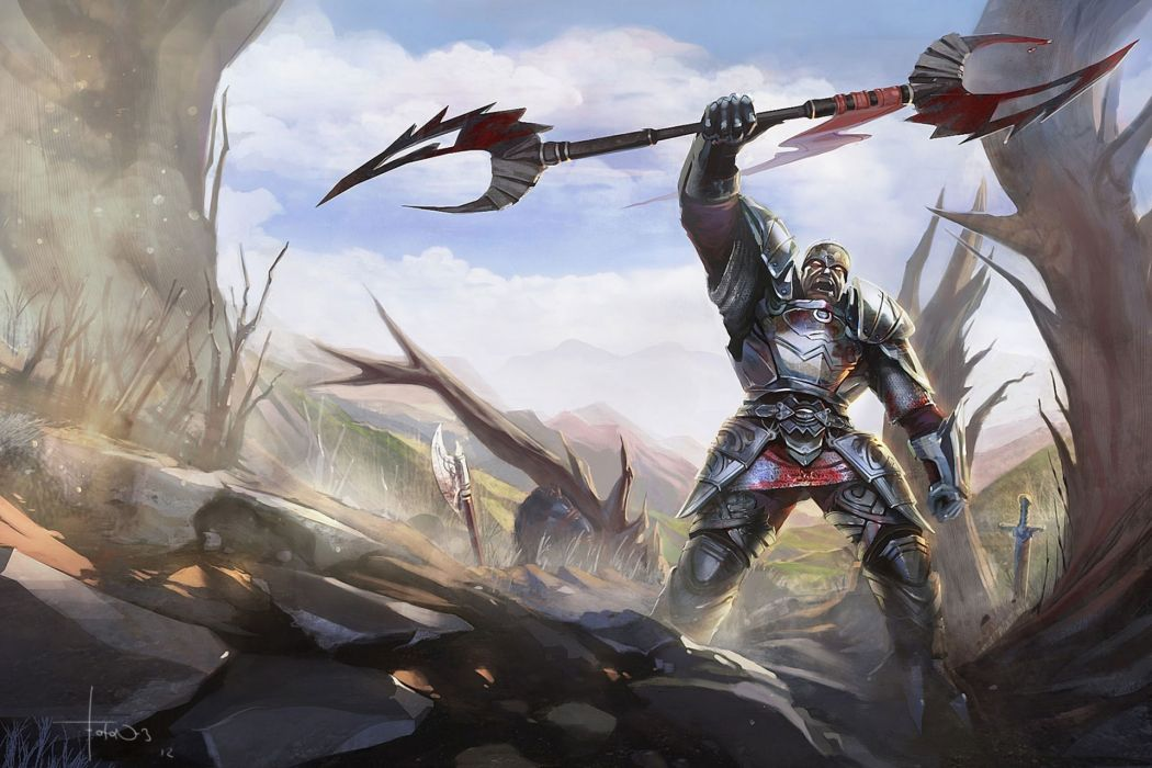 warrior fantasy art armor blood weapons sword landscapes wallpaper