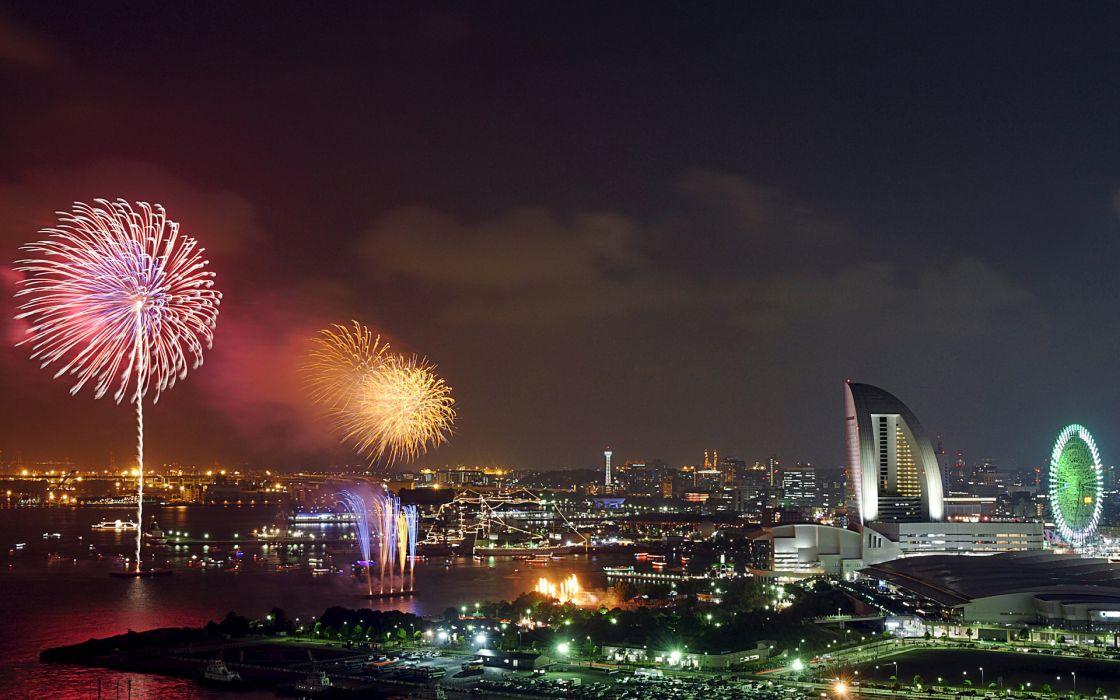 Yokohama Kanagawa Japan world cities architecture buildings night lights fireworks holidays new year sky celebration wallpaper