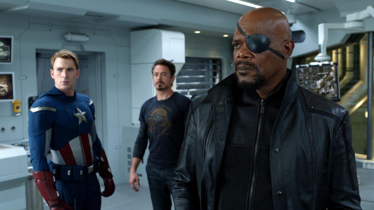 The AvengersSamuel L Jackson Robert Downey Jr Chris Evans movies comics superhero captain america iron man men males actors wallpaper
