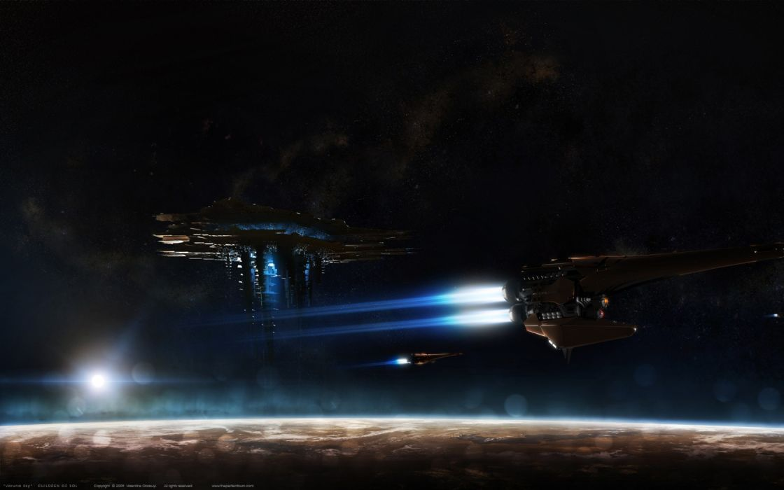 futuristic sci-fi space planets stars spaceship spacecraft cg digital art wallpaper