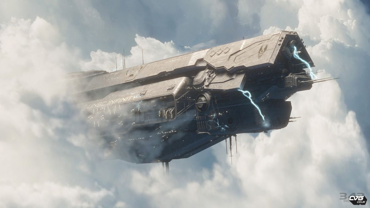 Halo 4 UNSC Infinity kosmochesky ship sky clouds video games sci-fi futuristic spaceship spacecraft flight wallpaper