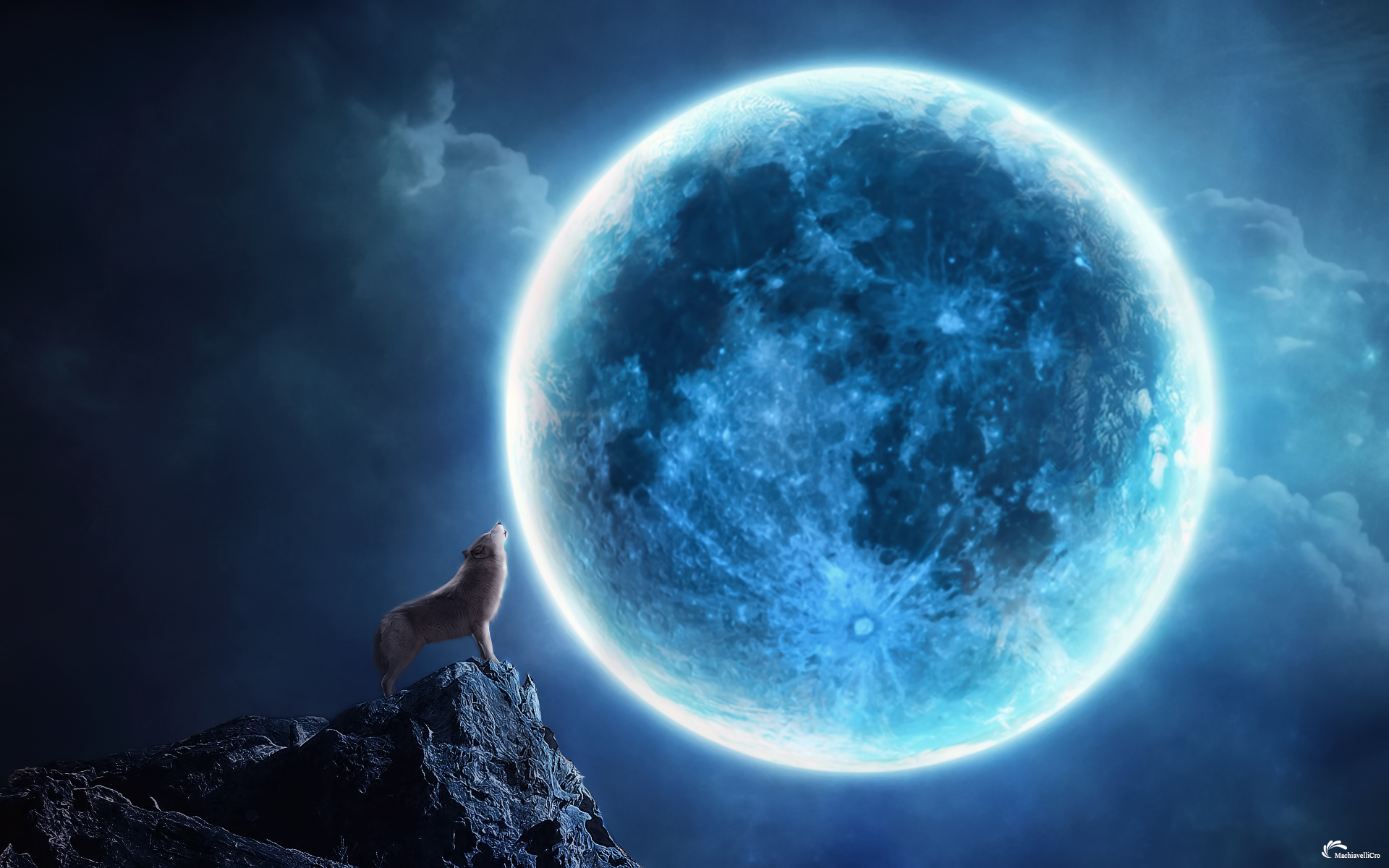 Howling Cg Digtal Art Fantasy Animals Dogs Wolves Wolf Landscapes Night Moonlight Moon Sky Clouds Magic Mood Wallpaper