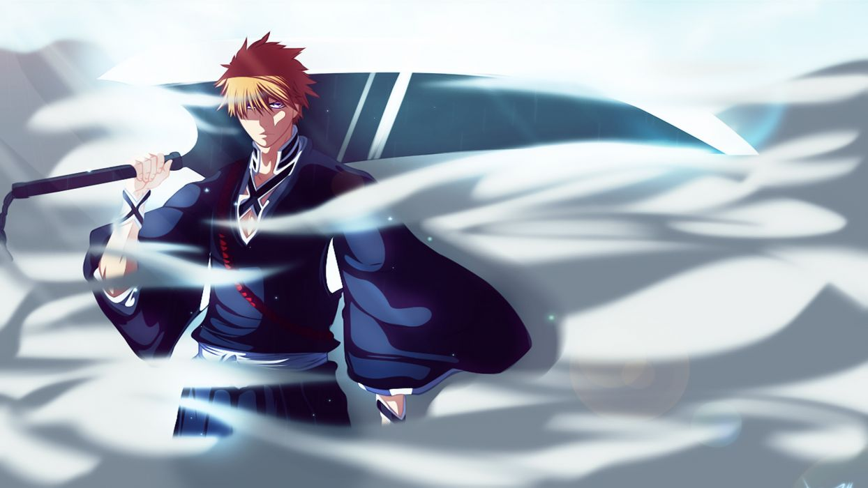 Bleach Ichigo Kurosaki weapons boy men males warriors wallpaper