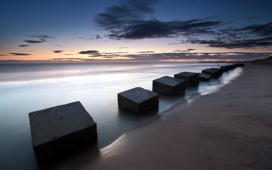 England Blyth beaches water landscapes bay sea ocean sky clouds sunset sunrise wallpaper