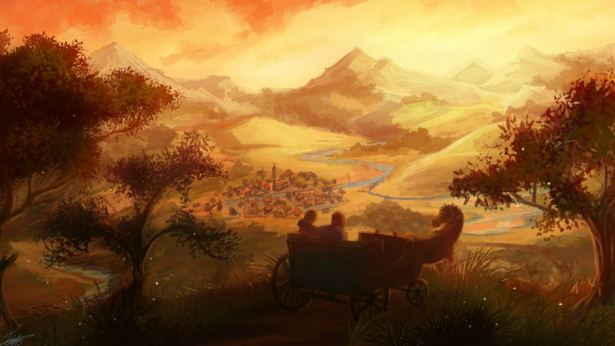 fantasy art love romance mood girl boy wagon landscapes cities town architecture buildings trees hill rivers wallpaper