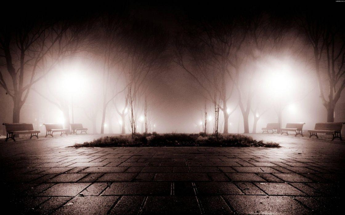 Park landscapes world night lights fog bench trees post ...
