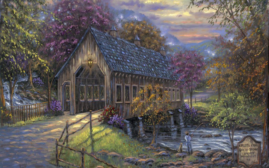 Robert Finale art paintings rustic roads bridges rivers sports fishing trees autumn fall seasons children boy dogs sky clouds wallpaper