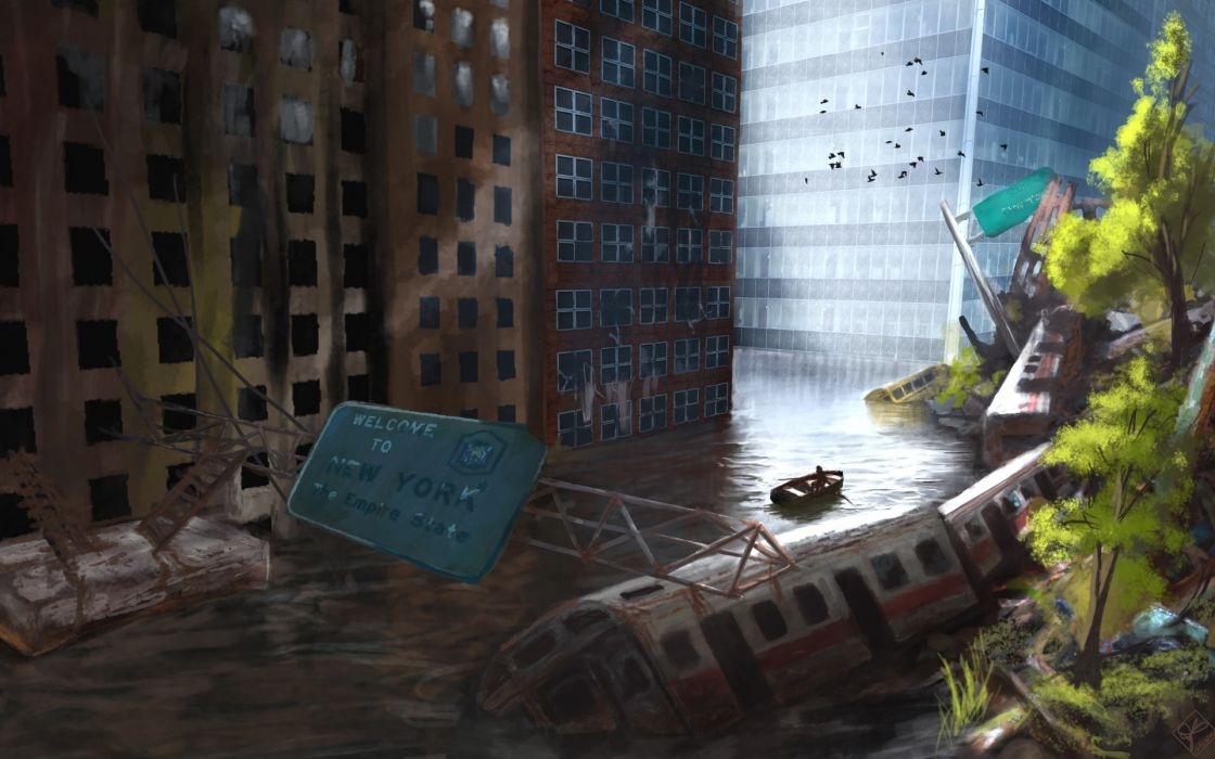 sci-fi post apocalyptic flood cities architecture buildings dark people boats situations trains roads art wallpaper