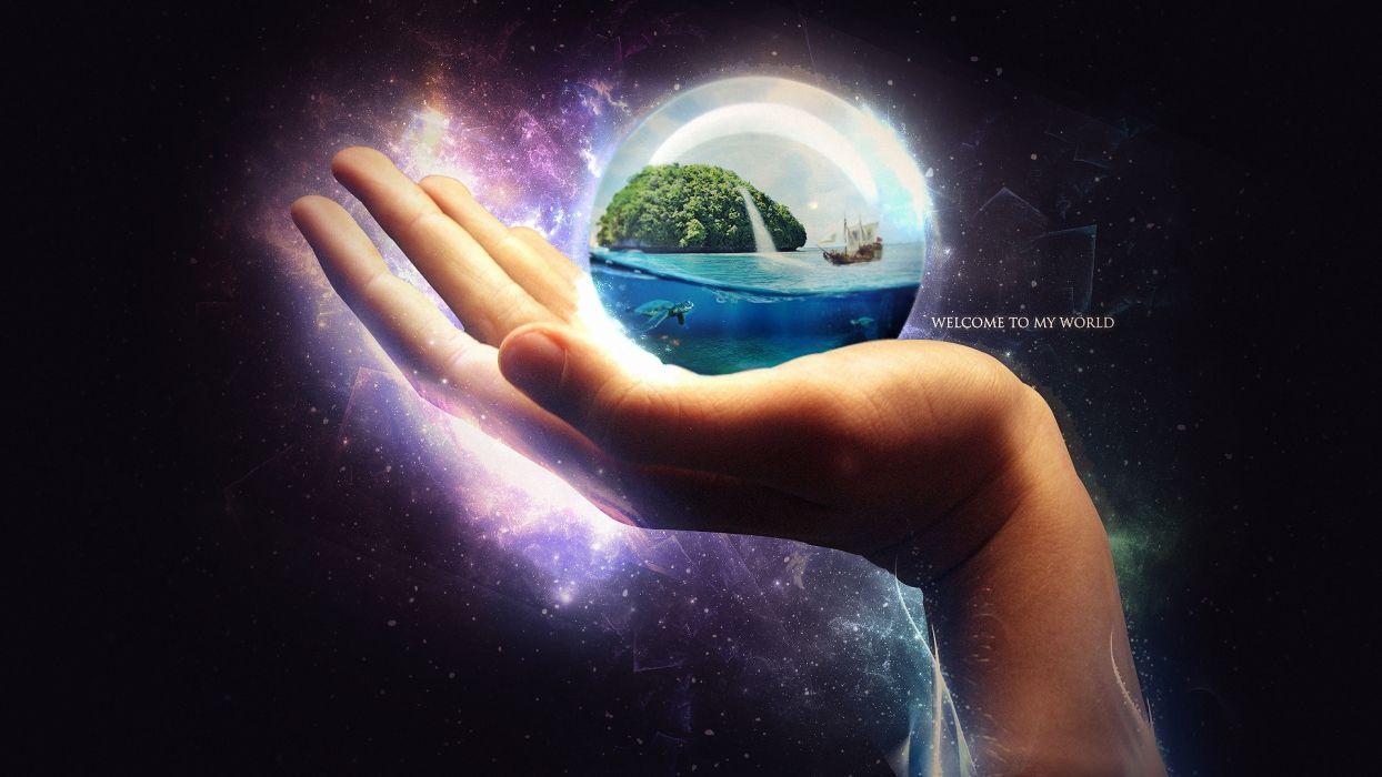 sphere ball island boat turtle ocean manipulation cg digital art globe earth sea ships dream wallpaper