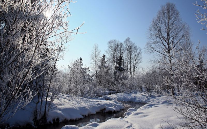 sunrise sunset nature landscapes rivers streams water winter snow trees forest sky frost wallpaper