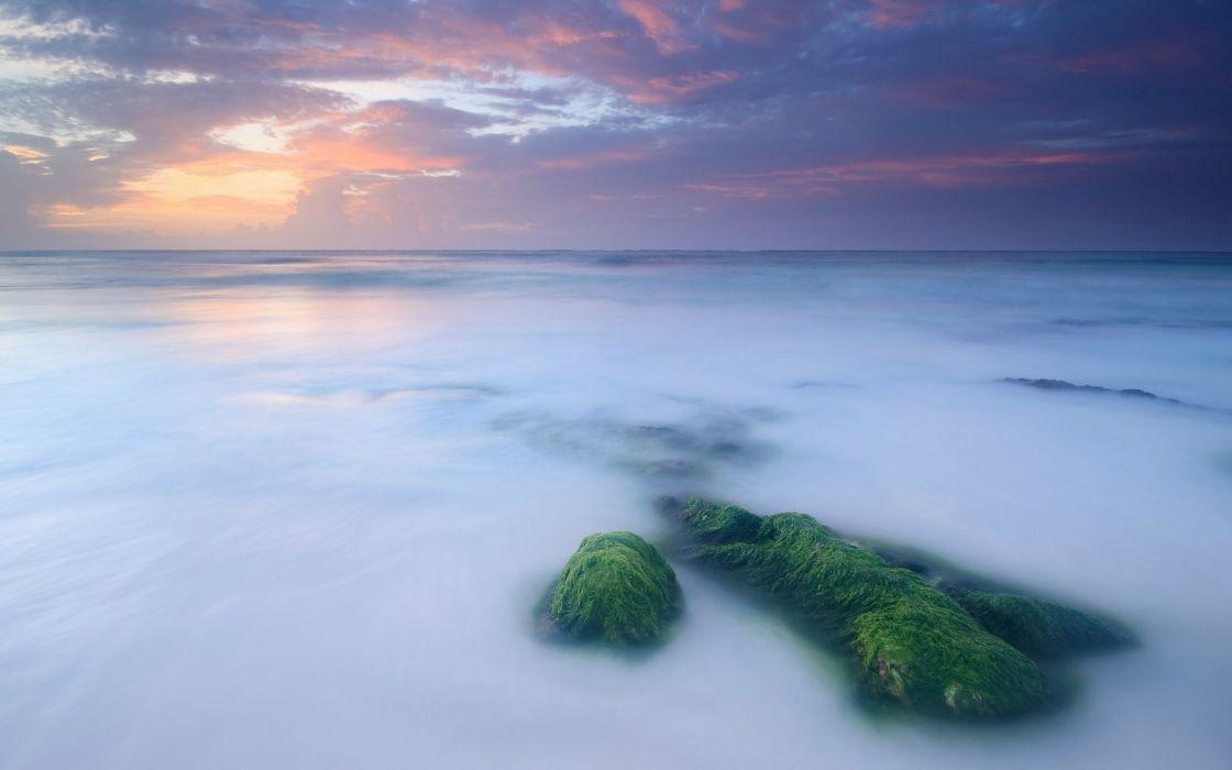 view scenic timelapse ocean sea rocks stone sky clouds sunset sunrise wallpaper