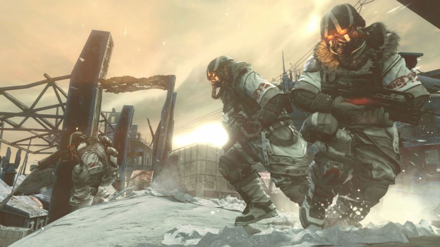 killzone 3 sci-fi futuristic warriors soldiers mask armor machine guns assault rifles winter snow wallpaper