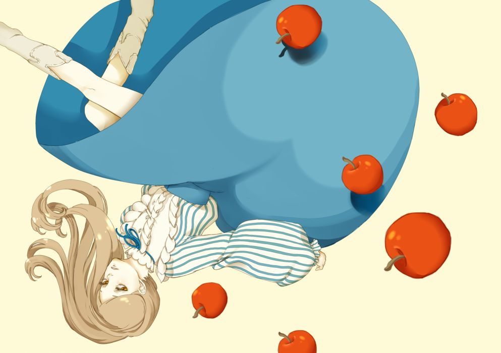 Mawaru Penguindrum Takakura Himari anime girl food apples females blondes face eyes pov wallpaper